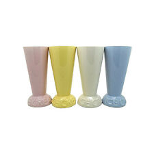 4 x Yong Ice Cream Sundae Glasses Ceramic Cup Set - Assorted Colours
