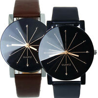 Fashion Women's Date Leather Sport Stainless Steel Analog Quartz Wrist Watches