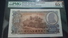 1957 Albania 500 Leke - PMG Certified Note  Pick# 31a, 65 Gem Unc