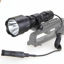 Tactical 5000LM LED Light Hunting Flashlight Pressure Switch Rifle Scope Mount *