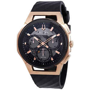 Bulova Curv Chronograph Black Dial Men's Watch 98A185