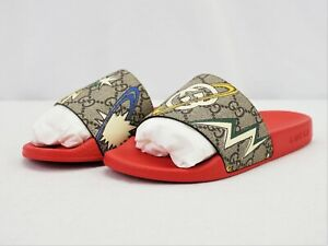 New in Box Gucci Kids GG Monogram Slides in Red EU 33 -BBR1644