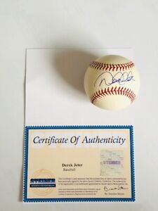 Derek Jeter Autographed Baseball MLB New York Yankees Steiner Certified