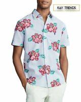 Ralph Lauren Floral seersucker Classic fit Short Sleeve Button-Down SHIRT Size M