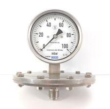 "Wika Plattenfedermanometer senkrecht | Edelstahl | Ø100mm | 0-100 mbar | 1/2"""