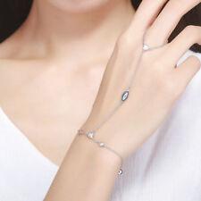 925 Sterling Silver Evil Eye Charm Bracelet Slave Chain Finger Ring Hand Harness