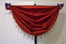 """VALANCE, RED, SWAG, WATERFALL, GROMMET, 36""""X46"""" BELLE MAISON, NWOT BEAUTIFUL!!!"""