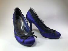 PULSE Purple & Black Lace Overlay Babydoll High Heel Pumps Womens Shoes SIZE 8