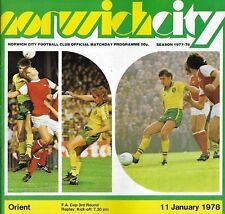 Football Programme>NORWICH CITY v ORIENT Jan 1978 FAC