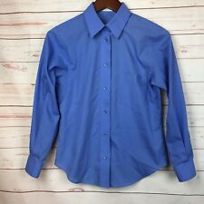 FOXCROFT Women's 4 Petite 4P Shirt Wrinkle Free Button Down Blue Career EUC!