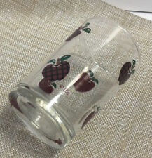 """Anchor Hocking Applejack APPLES Red Black Plaid Checkered juice Glass 3.5"""" Tall"""