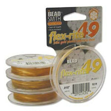 """24kt Gold Plated Stainless Steel Flex Rite Beading Wire .018"""" 10' 49 St"""