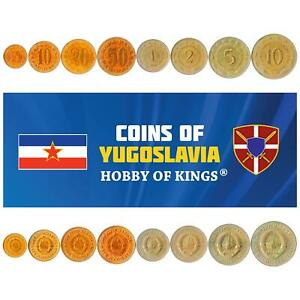 SET OF 8 COINS FROM YUGOSLAVIA. 5,10,20,50 PARA, 1,2,5,10 DINARA. 1965-1981