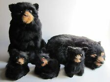 Family of 5 Black Bears-Replica Figurines made w/Real Rabbit Fur