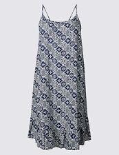 M & S COLLECTION TILE PRINT NAVY MIX BEACH DRESS