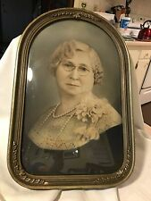 "VTG CONVEX BUBBLE GLASS ~ PHOTOGRAPH PICTURE FRA ME ~ 17 x 11"" ~ Grandmother"