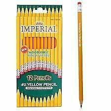 New Imperial, Wood Free,12 Pencils, #2 Yellow Pencils