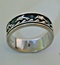 Diving Dolphin in waves Solid Sterling Silver 925 Ring