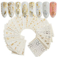 30Pcs/Set Gold Silver Water Nail Art Stickers Decal Feather Flower Spider Design