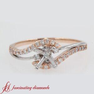 1/4 Carat Round Diamond Two Tone Three Stone Semi Mount Swirl Engagement Ring