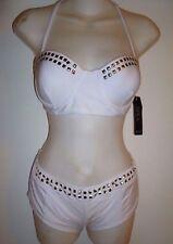 NWT YMI Ladies White Gold Studded 2 Pc Bikini Lightly Padded Uwire support SZ L