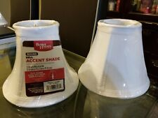 2x Better Homes and Gardens Faux Silk Mini Accent Lamp Shade, White Round Bell