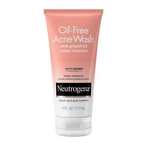 Neutrogena Oil-Free Acne Pink Grapefruit Cream Cleanser, 6 oz,Expiration 11/2017