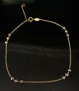 10K Yellow & White Gold Alternating Ball Station Adjustable Anklet Bracelet-9/10