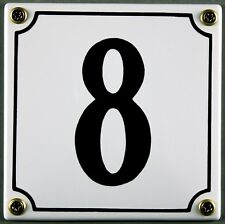 """Weiße Emaille Hausnummer """"8"""" 12x12 cm Hausnummernschild sofort lieferbar Schild"""