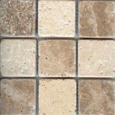 Sample of Tumbled Light & Walnut Mixed Travertine Mosaic Tiles 48 x 48 mm