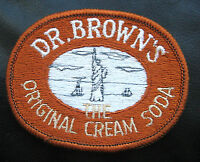 "DR BROWNS SEW ON PATCH ORIGINAL CREAM SODA UNIFORM BEVERAGE 3 1/2"" x 2 1/2"""