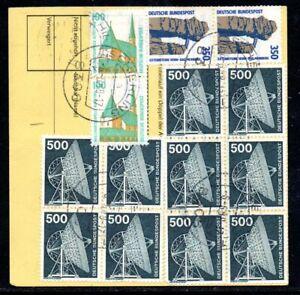 BRD Bund Paketkarte mit 10x 859 5 DM für ein Wertpaket über 20.000 DM (1231)