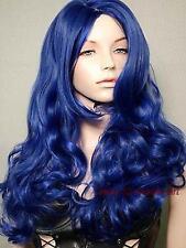 Belle dame bleu longue bouclée perruque .cos perruque + gratuit hairne