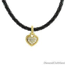 Judith  Ripka 18kt Gold Diamond Double Heart Pendant Leather  Necklace