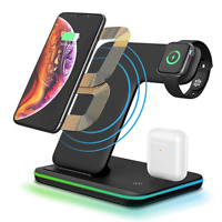 3 in 1 15W Fast Qi Wireless Charger For iPhone X XS Max Xr 8 Plus +iWatch