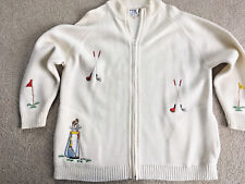 Vintage GOLF Bonnie Lee Division of LeRoy SWEATER JACKET zipper GOLF EMBROIDERY
