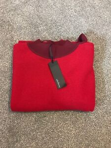 LADIES MARKS AND SPENCER AUTOGRAPH CRIMSON AND BURGUNDY HIGH NECK JUMPER SIZE 16