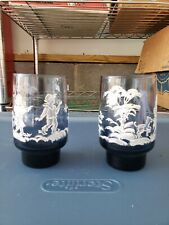 Vintage Hand Painted Glass Tumblers Set of 6