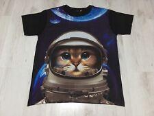 Space Cat Astronaut T-Shirt Size Large LSD Ibiza Rare Black Blue Cute Kitten