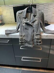 Balmain Denim Motorcycle Jacket, Size 38