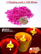 1 Floating Cork + 100 Wicks Oil Candle Light For Meditation Vigil In Bulk DIY