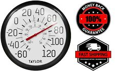Wall Analog Thermometers Indoor Outdoor Large Round Black Easy To Read 13.25″
