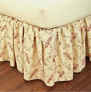 """Ralph Lauren King Bedskirt Mirabeau Paisley Cream/Red Cotton 78x80"""" 6001843770M2"""