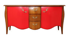 Shaped sideboard cherry and red with 3 deep drawers and 2 big doors