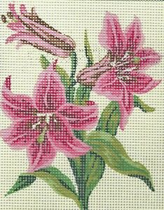 NEW LOVELY LILIES NEEDLEPOINT TAPESTRY canvas to stitch- 20 X 25 CM