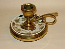 Antique English Brass and Ceramic Candle Holder
