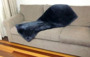 Charcoal Sheepskin Plate Rug Large Throw Runner Bed Chair Floor Lamb Fur 140cm