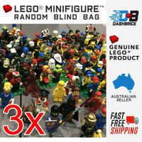 LEGO - 3 x Genuine LEGO Minifigures - Bulk Buy Pack - With Free Accessories