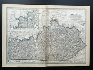 Antique Map Of Kentucky Louisville Jefferson Boone Pendleton   1903