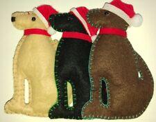 Set of 3 SANTA LABRADOR DOG felt Xmas tree decorations BLACK CHOCOLATE YELLOW